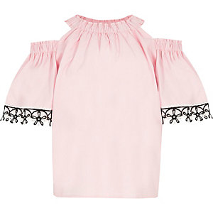 Girls pink cold shoulder floral trim top