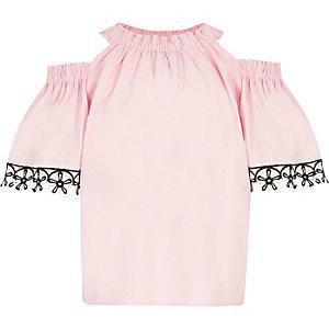 Girls pink cold shoulder floral trim top