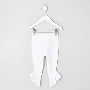 Mini girls white frill denim look leggings