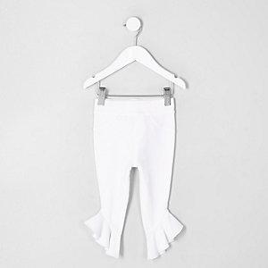 Mini - Witte legging in denimlook met ruches langs de zoom voor meisjes