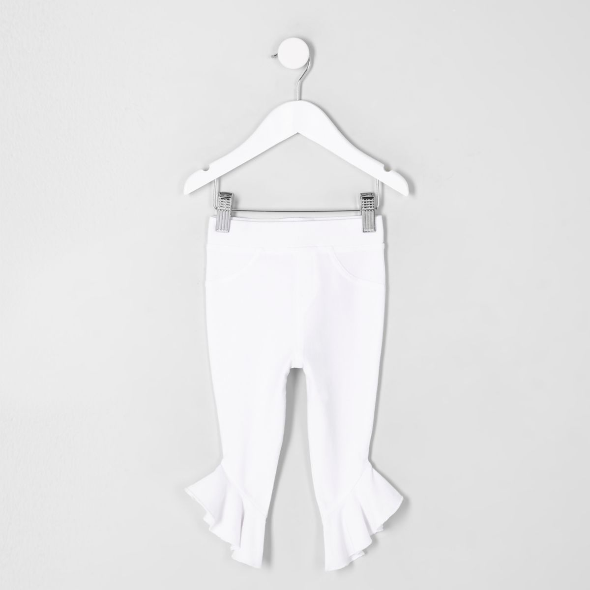 Mini girls white denim look frill hem legging