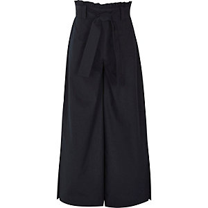 Girls navy paper bag waist wide leg trousers