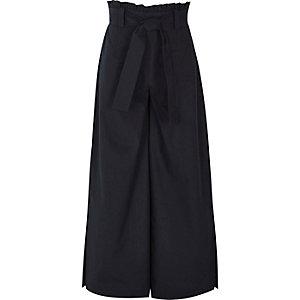 Girls navy paper bag waist wide leg pants