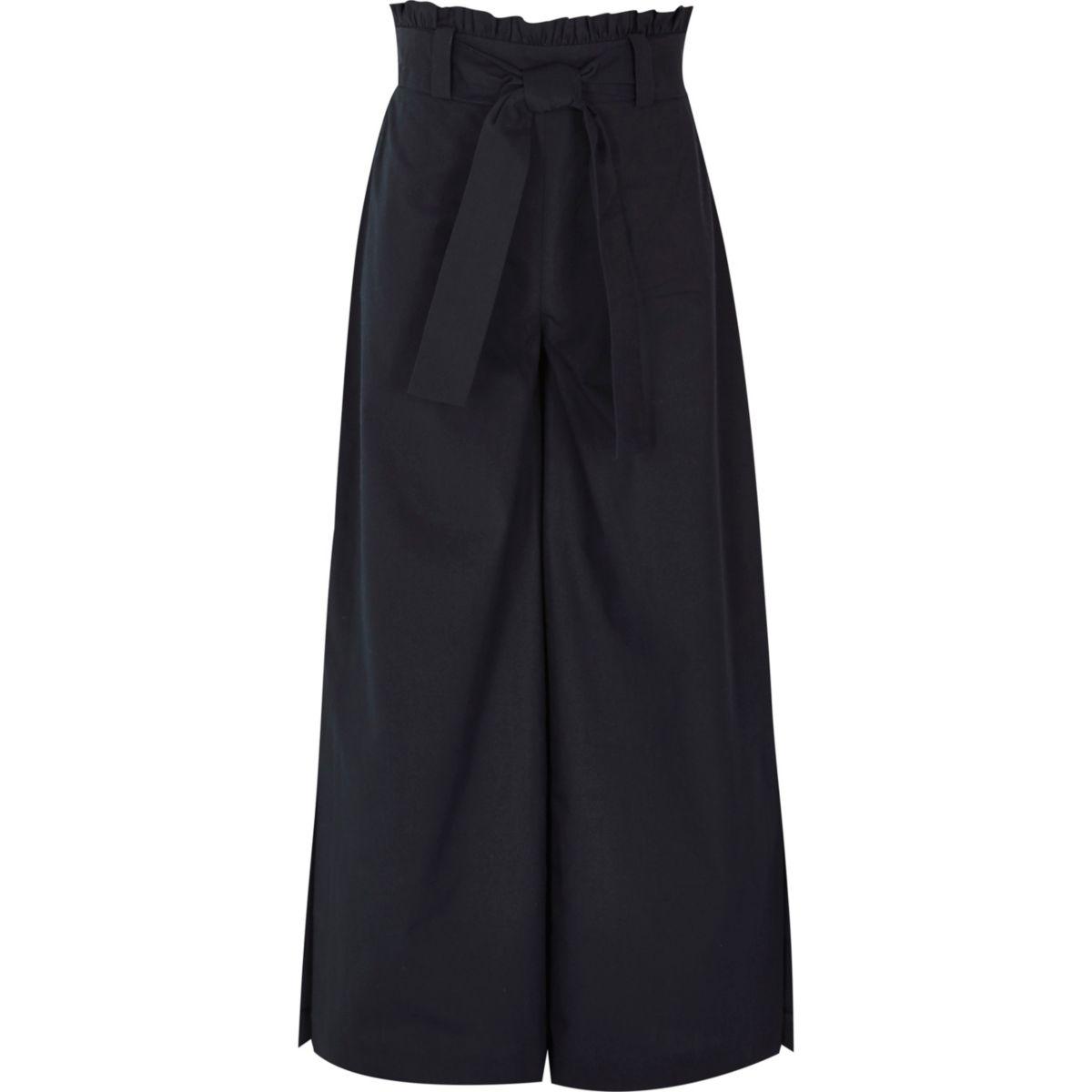 Girls navy paper bag waist wide leg trousers