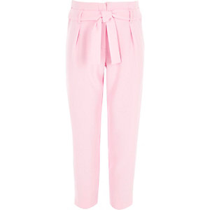 Girls pink tie waist tapered trousers
