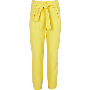 Girls yellow tapered trousers