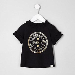 """Schwarzes T-Shirt """"Paris"""" mit gerüschtem Ausschnitt"""
