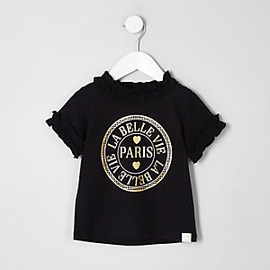 T-shirt « Paris » noir avec encolure à volants mini fille