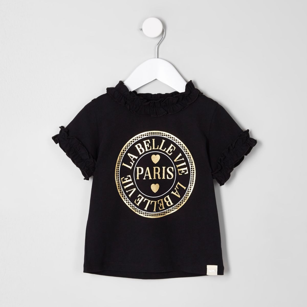 Mini girls black Paris' ruffle T-shirt