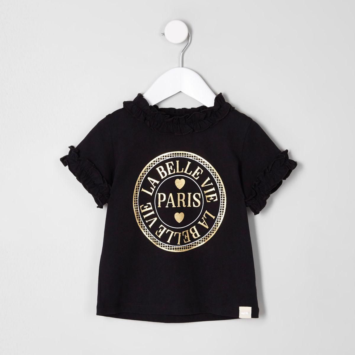 T-shirt Paris noir à volant mini fille