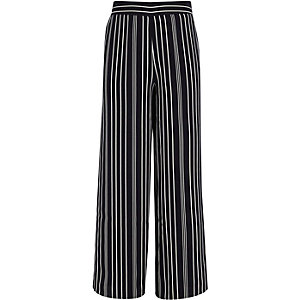 Girls blue stripe wide leg palazzo trousers