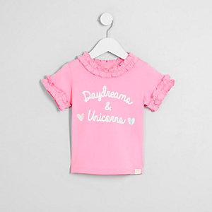 Mini - T-shirt met 'Daydreams'-print en ruches aan de hals voor meisjes