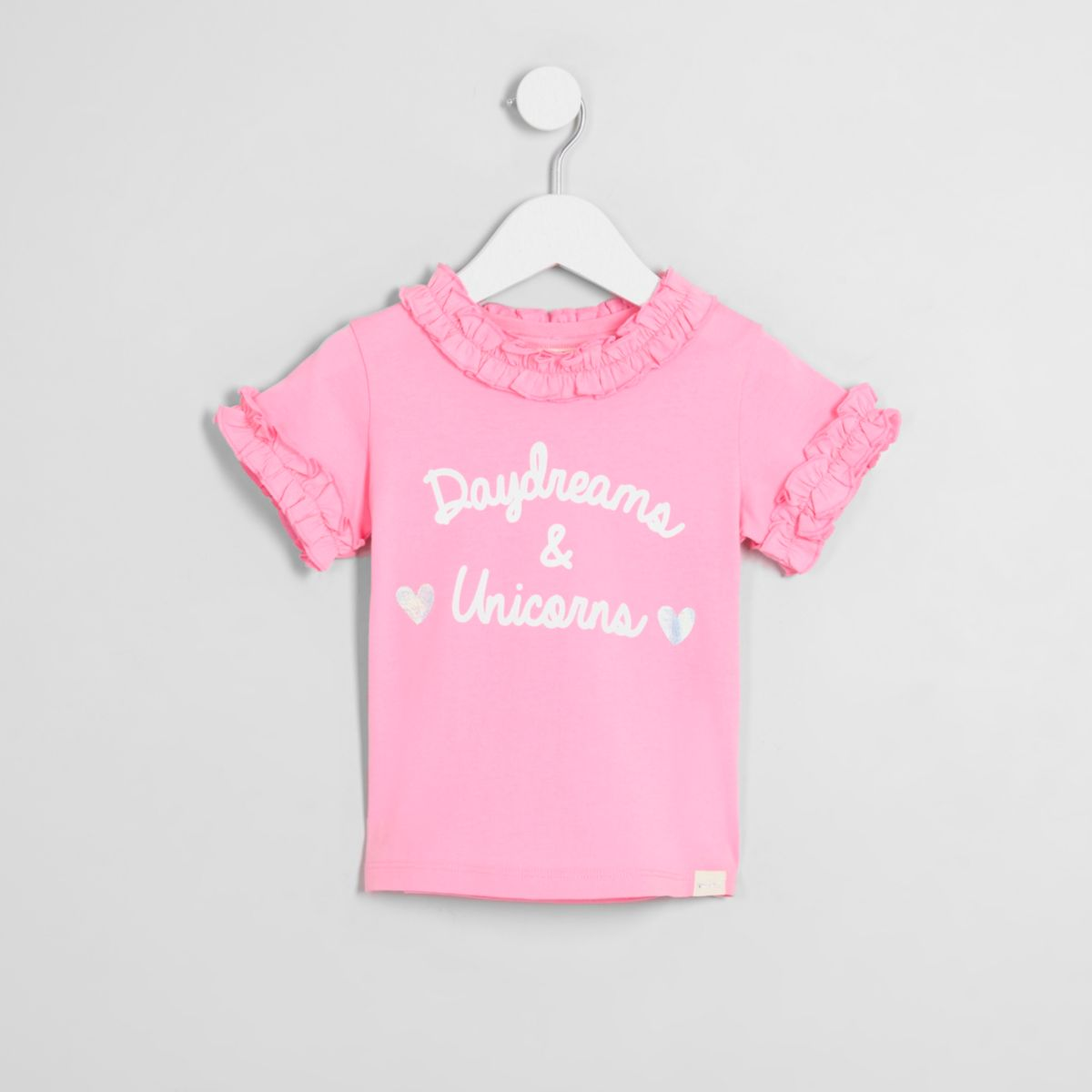 Mini girls pink 'daydreams' ruffle T-shirt