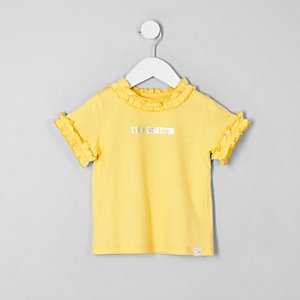 Mini girls yellow 'style' frill neck T-shirt