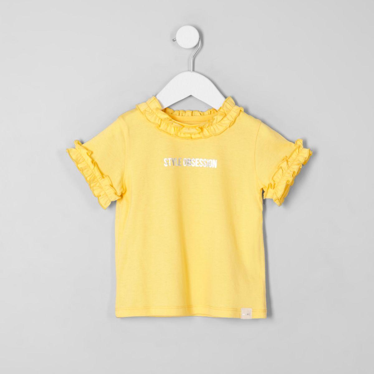 Mini girls yellow 'style' frill neck T-shirt
