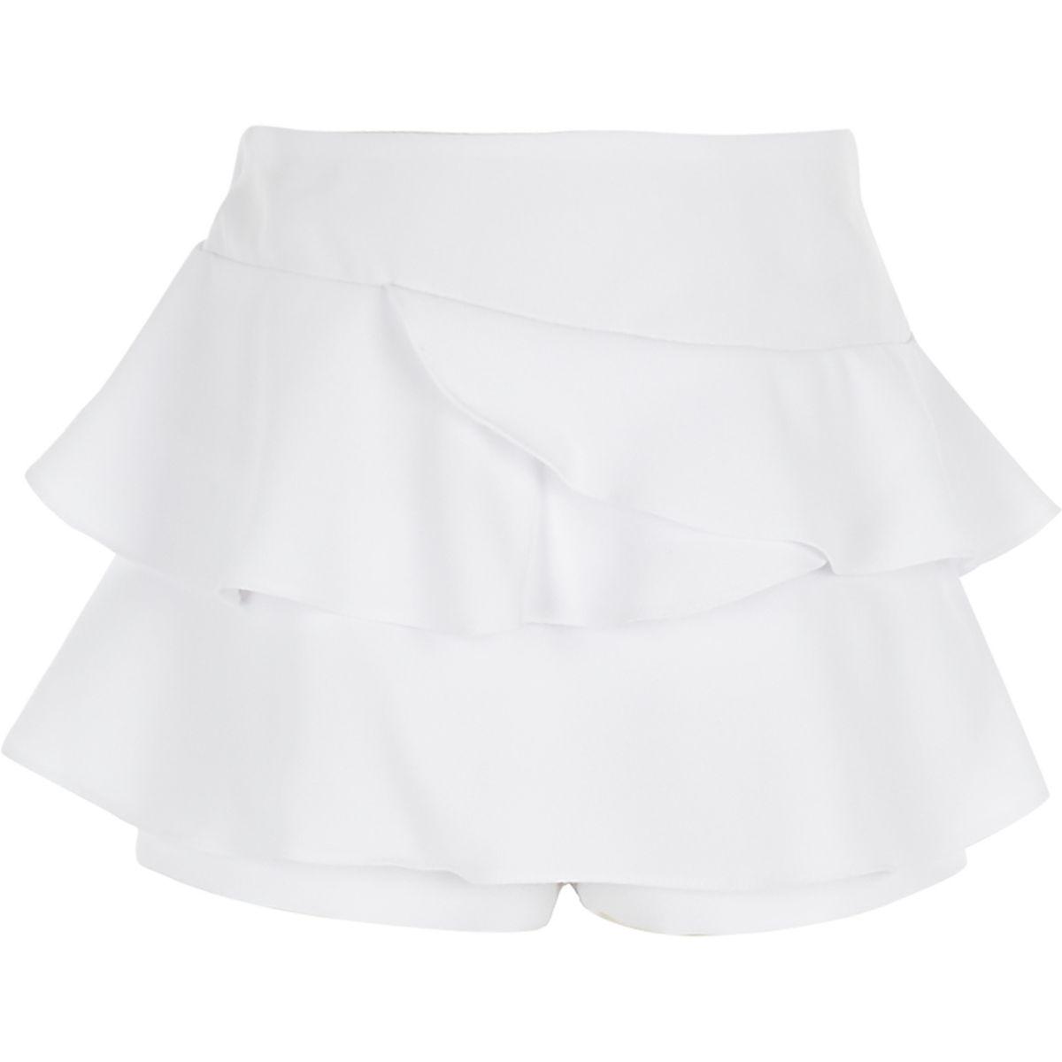 Jupe-culotte rara blanche à volant pour fille