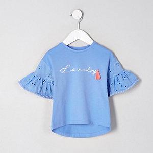 Mini girls blue 'lovely' frill sleeve top