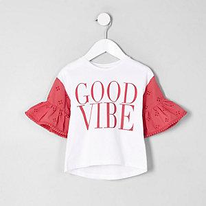Mini - Rood T-shirt met 'good vibe'-print en ruches voor meisjes