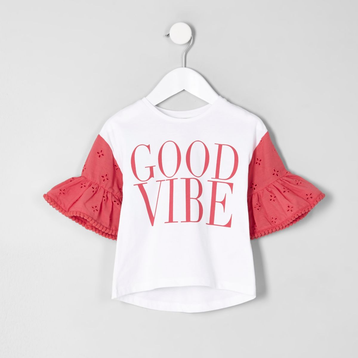 Mini girls red frill 'good vibe' T-shirt