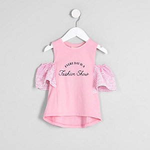 Mini girls pink gingham cold shoulder top