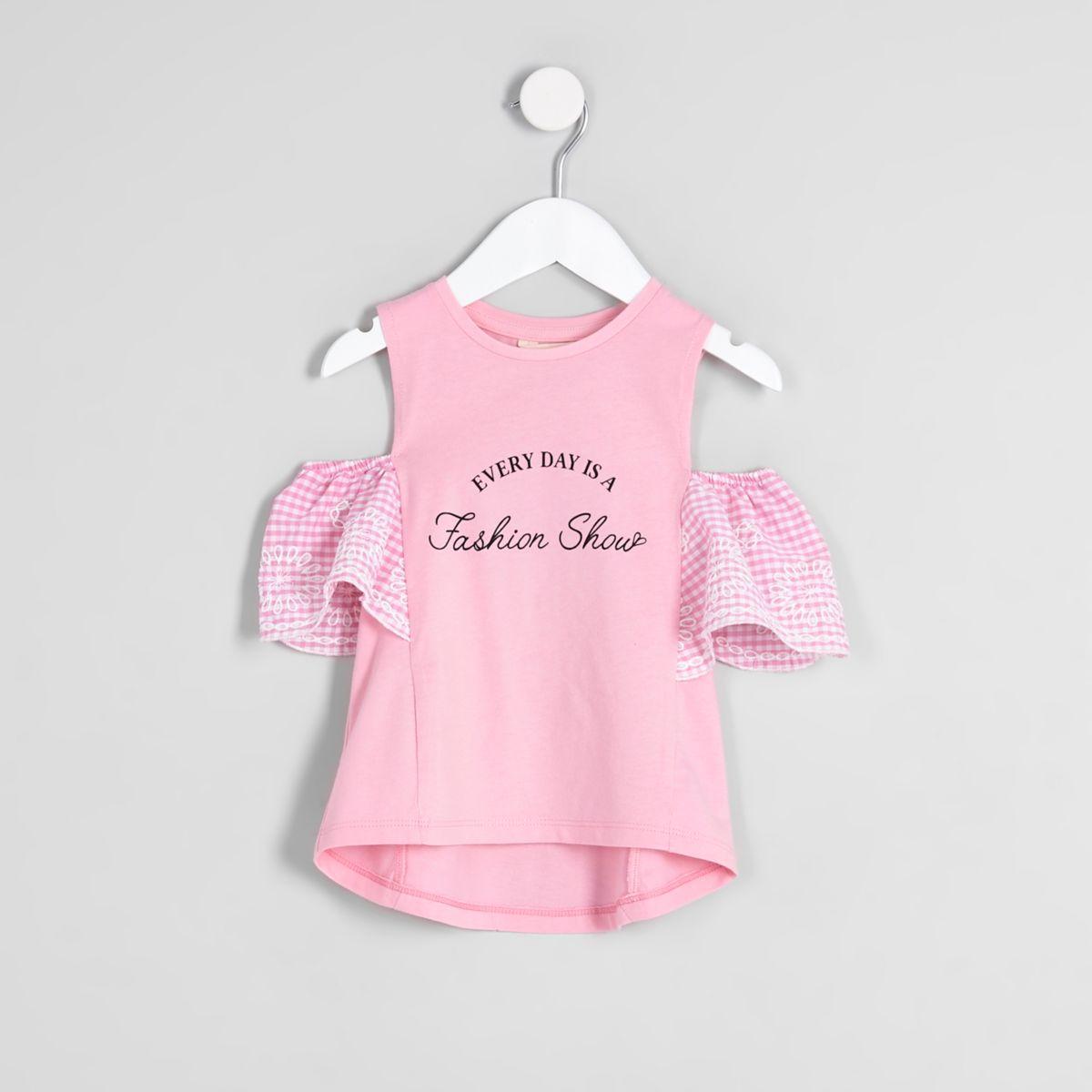 Mini girls pink gingham cold shoulder top