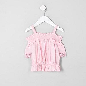 Mini - Roze gesmokte gehaakte bardottop voor meisjes