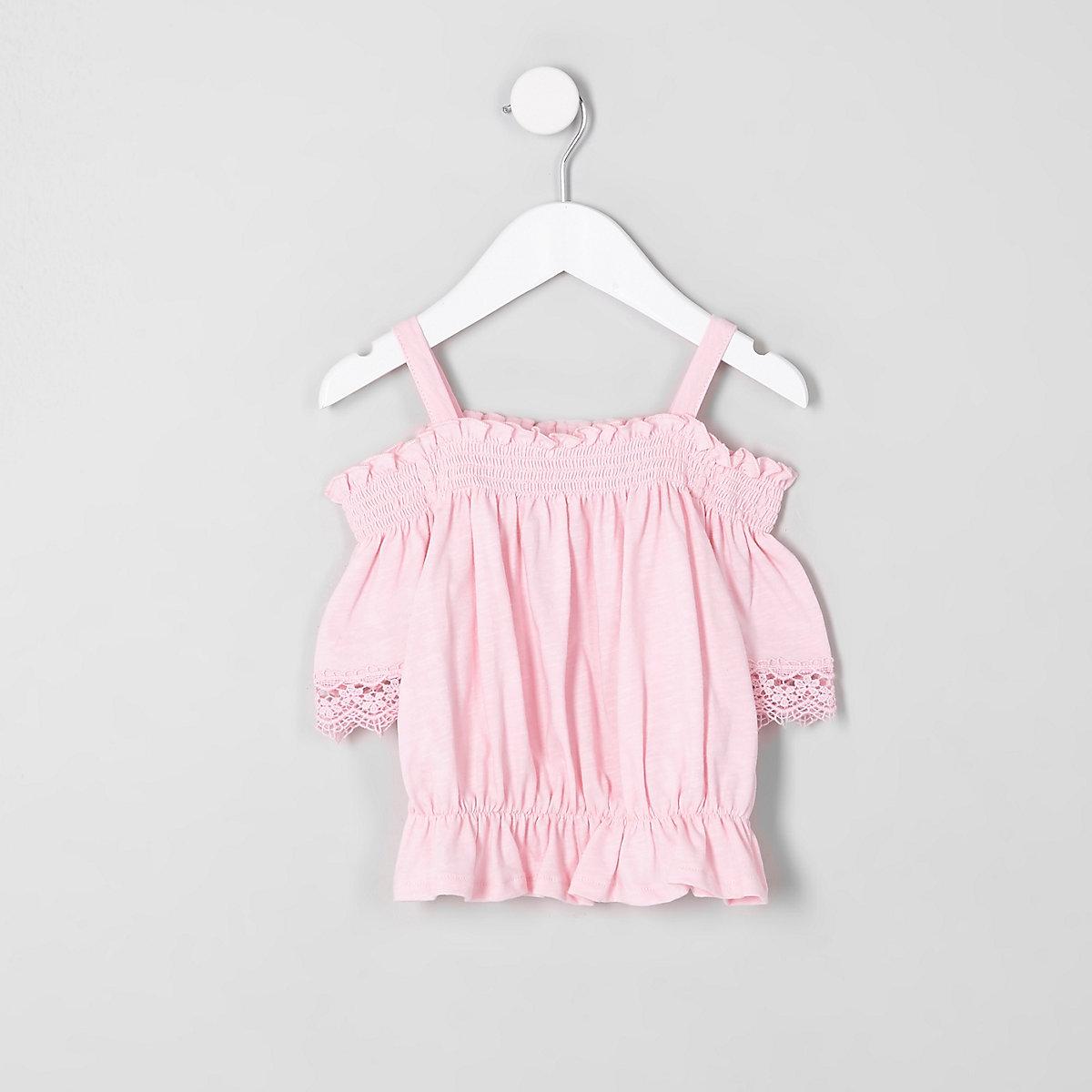 Mini girls pink shirred bardot crochet top