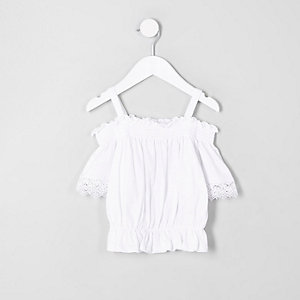 ​Mini girls white shirred bardot crochet top
