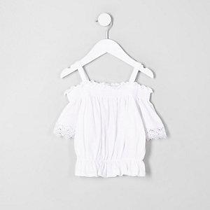 Mini - Witte gesmokte gehaakte bardottop voor meisjes