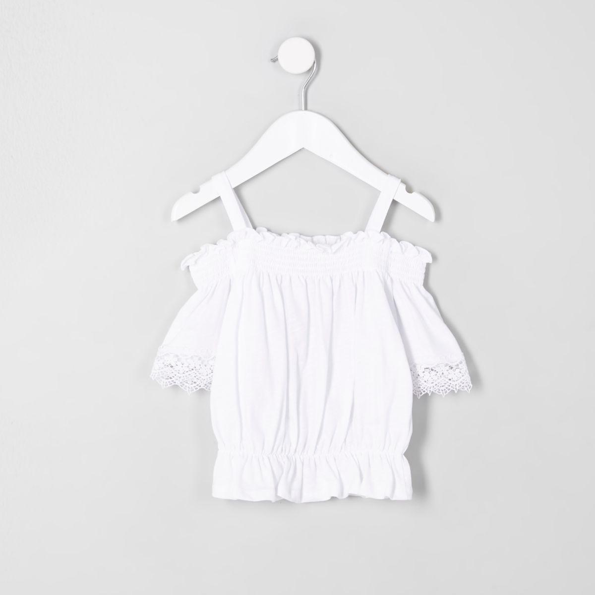 Mini girls white shirred bardot crochet top