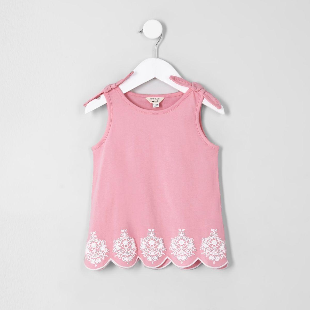 Mini girls pink bow shoulder vest top