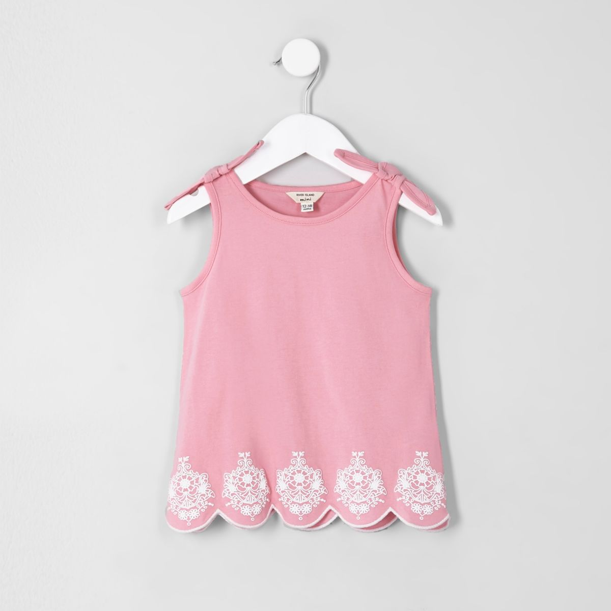 Mini girls pink bow shoulder tank top