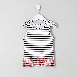 Mini girls white stripe bow shoulder vest top