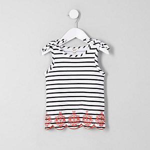 Mini - Wit gestreept hemdje met strik op de schouder voor meisjes