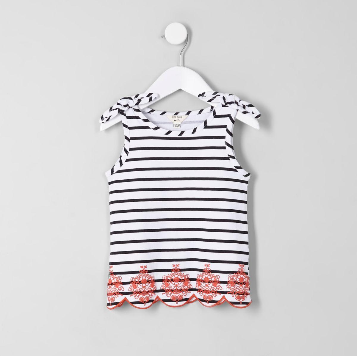 Mini girls white stripe bow shoulder tank top