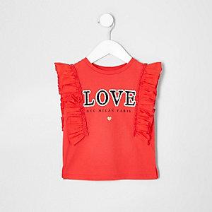 Mini - Rood T-shirt met 'love'-print en ruches voor meisjes