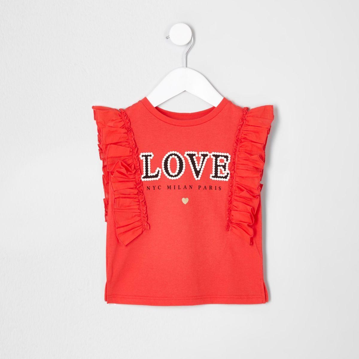Mini girls red 'love' frill sleeve T-shirt