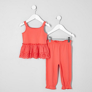 Ensemble caraco corail brodé mini fille