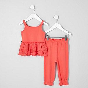 Mini - Outfit met koraalrode camitop met broderie voor meisjes