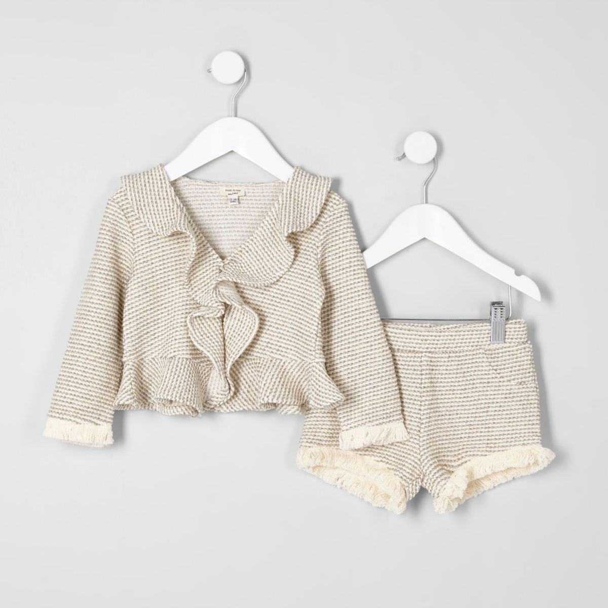 Mini girls cream frill trophy jacket outfit