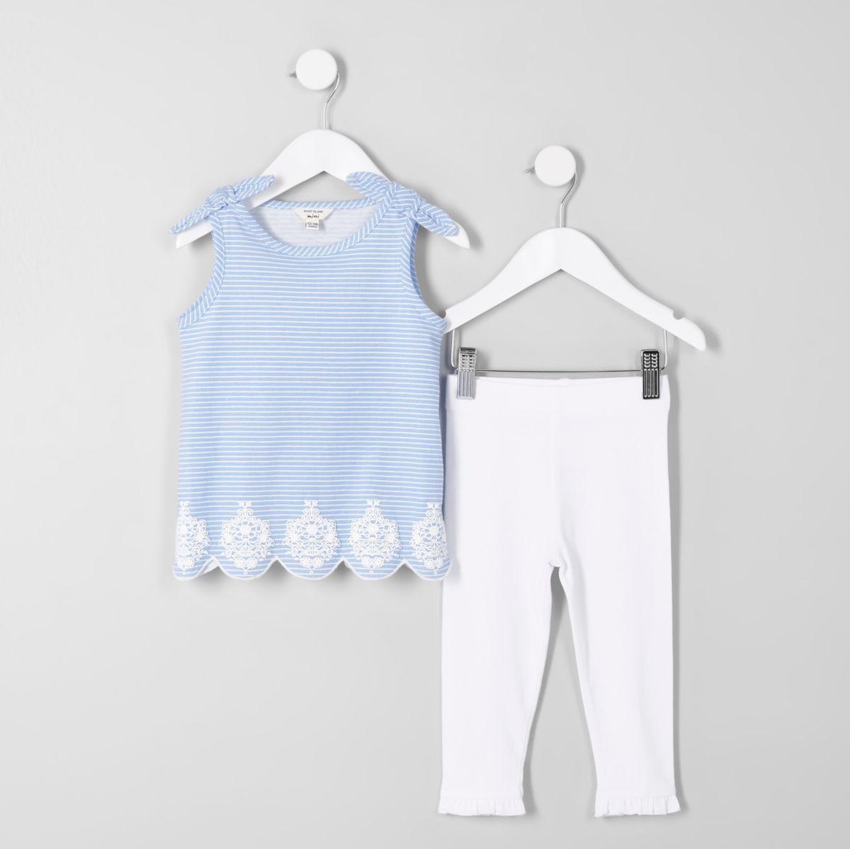 Mini girls blue stripe bow shoulder vest top