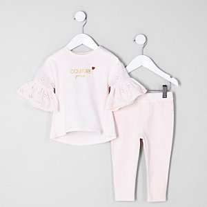 Mini girls light pink 'Couture Paris' outfit