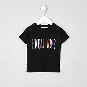 Mini girls black 'fabulous' print T-shirt