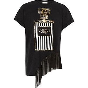 Schwarzes T-Shirt mit Netzstoffsaum und Parfüm-Motiv