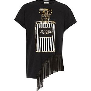 Zwart T-shirt met parfumprint en zoom van mesh voor meisjes