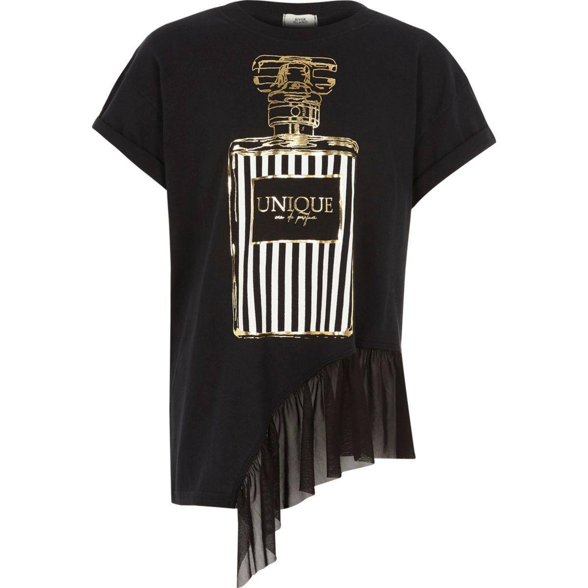Girls black perfume print mesh hem T-shirt