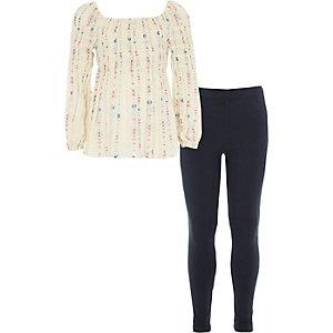 Mini - Outfit met gesmokte top en legging voor meisjes