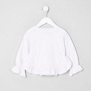 Mini girls white frill hem long sleeve top