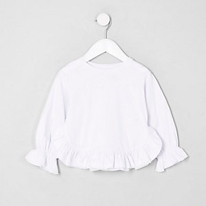 Mini girls white frill hem long sleeve top