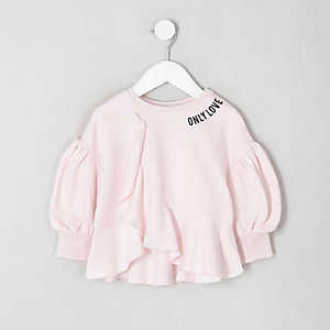 Sweat rose clair à volants mini fille